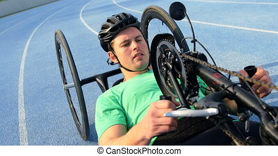 Disabled athlete racing in wheelchair 4k - Disabled athlete ...