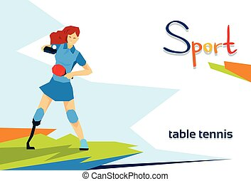 Disabled Athlete Woman Play Table Tennis Sport Competition