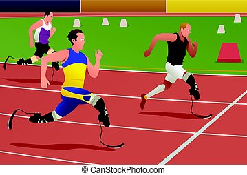 Disabled Athletes in Running Competition - A vector...