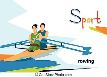 Disabled Athletes Rowing Sport Competition Flat Vector...