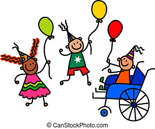 Disabled Birthday Party Boy - A doodle sketch of a happy...