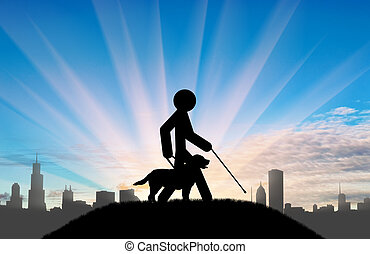 Disabled blind with cane hold guide dog day city - Icon...