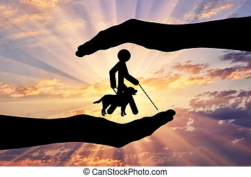 Disabled blind with stick hold guide-dog into hands sunset...