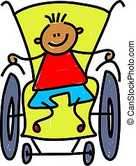 little boy in a wheelchair isolated on white - toddler art series