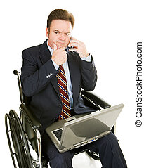 Disabled Businessman - Thinking
