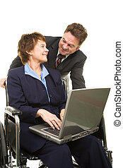 Disabled Businesswoman and Boss