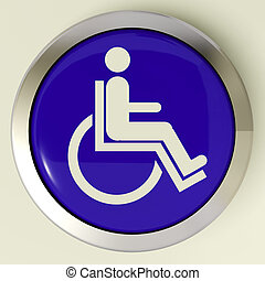 Disabled Button Shows Wheelchair Access Or Handicapped