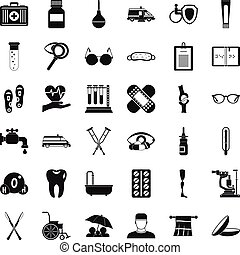 Disabled care icons set, simple style