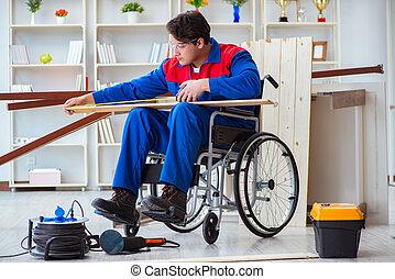 Disabled carpenter taking measurement in workshop