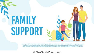 Disabled Child Family Support Flat Vector Poster