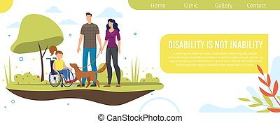 Disabled Child Family Support Vector Webpage
