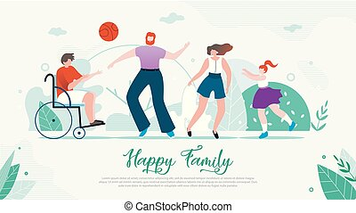 Disabled Child Happy Family Flat Vector Banner