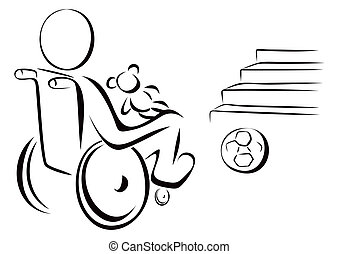Disabled child - Child in wheelchair next to stairs and...