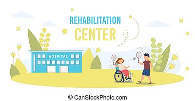 Disabled Child in Rehabilitation Center Vector