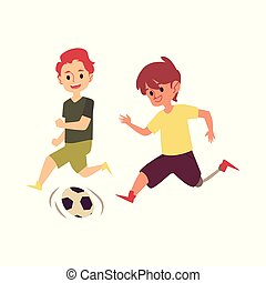 Disabled child playing soccer game with friend, happy cartoon boy with prosthetic leg