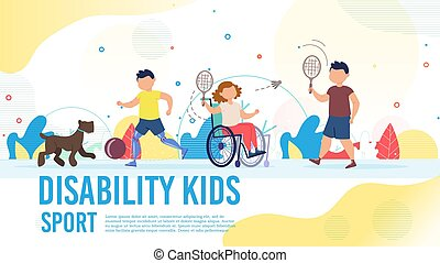Disabled Child Sport Hobby Vector Poster Template