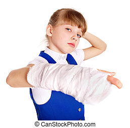 Disabled child with broken arm.