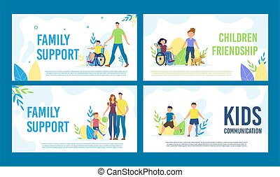 Disabled Children Happy Life Vector Banners Set