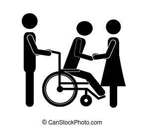 Disabled design over white background, vector illustration