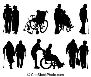 disabled  - Silhouettes of old and  disabled people, vector