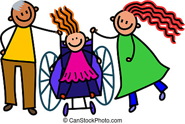 Disabled Girl and Parents - A doodle sketch of a happy...