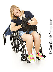 Disabled Girl Comforts Dog - Disabled teen girl says good by...