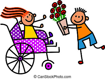 Disabled Girl Gets Flowers
