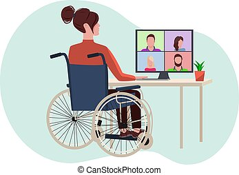 Disabled girl talking on videoconference communication with friends or colleagues