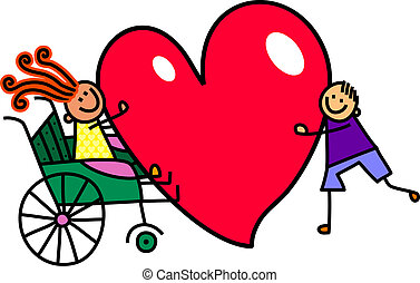 Disabled Girl with Big Heart Love