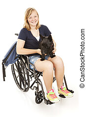 Disabled Girl with Scotty Dog - Disabed teen girl with her...