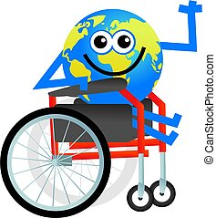 disabled globe - cartoon globe man sitting in a disabled...