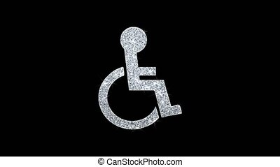 Disabled Handicap Icon Sparkling Shining White Blinking Particles Diamond Glitter Loop Light 4K Animation Alpha Channel.