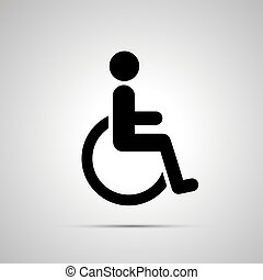 Disabled handicap simple black icon with shadow