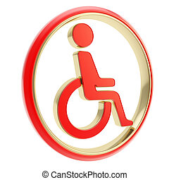 Disabled handicapped person icon em