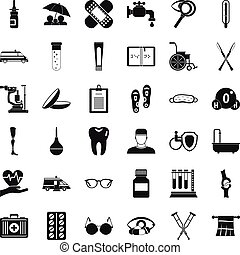 Disabled health icons set, simple style