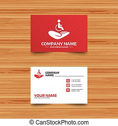 Disabled human insurance sign. Wheelchair man.