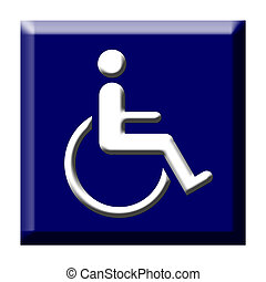 Disabled icon button - Disabled person icon on blue button,...