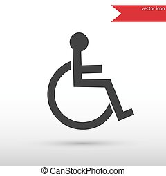 Disabled icon. Flat design style.