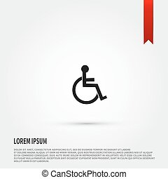 Disabled icon. Flat design style. Template for design.