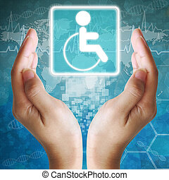 Disabled icon in hand,medical background