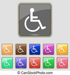 disabled icon sign. Set with eleven colored buttons for your site. Vector