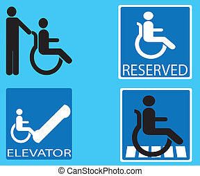 disabled icon sign vector set