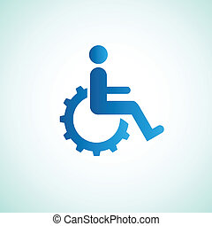 disabled icon sign with gear