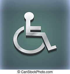 Disabled icon symbol. 3D style. Trendy, modern design with space for your text . Raster