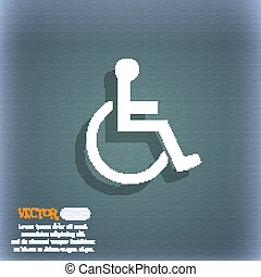 disabled icon symbol on the blue-green abstract background...