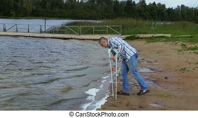 Disabled in windy day at the lake