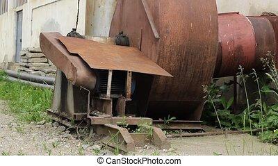 Disabled Industrial Rusty Smokestac - Tilt shot from bottom...