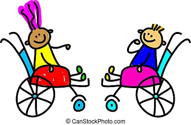 a little disabled boy and girl making friends - toddler art series
