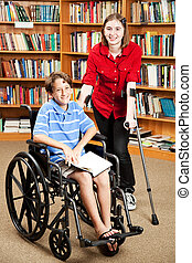 Disabled Kids at School - Disabled girl and boy in the...
