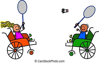 Disabled Kids Play Badminton